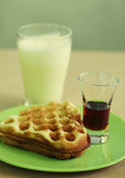 Delicious waffle with milk Royalty Free Stock Image