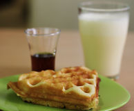 Delicious waffle with milk Stock Photography