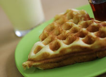 Delicious waffle with milk Royalty Free Stock Photo