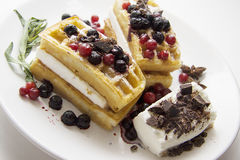 Delicious waffles with berries 10 Stock Photo