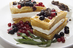 Delicious waffles with berries 12 Stock Image