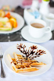 Delicious waffles with coffee Royalty Free Stock Photo