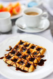 Delicious waffles with coffee Royalty Free Stock Images