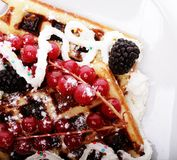 Delicious waffles and fresh berries Royalty Free Stock Photography