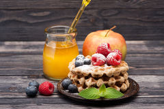 Delicious waffles with fresh berries, fruits and honey. Stock Images