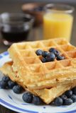 Waffles and blueberries Stock Photos
