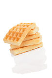 Delicious waffles pile. Royalty Free Stock Photography