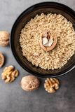Delicious walnuts on rustic background Stock Image