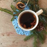 Delicious warm tea in winter background royalty free stock images