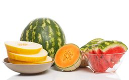 Delicious watermelon and melon on the table Royalty Free Stock Photos