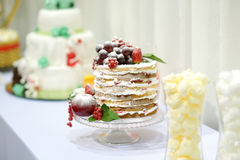 Wedding cake decorated with fruits Royalty Free Stock Photo
