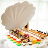 Delicious wedding reception candy bar dessert table. Delicious wedding reception candy bar dessert table Stock Images