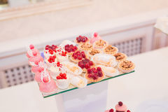 Delicious wedding reception candy bar dessert table Royalty Free Stock Image