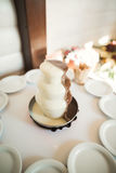 Delicious wedding reception candy bar dessert table Stock Photos
