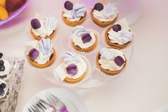 Delicious wedding reception candy bar dessert table Royalty Free Stock Photography