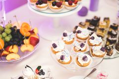 Delicious wedding reception candy bar dessert table Stock Images