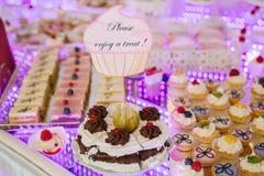 Delicious wedding reception candy bar dessert table. Royalty Free Stock Photos