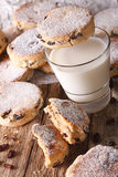 Delicious Welsh cakes with raisins and milk close-up. vertical Royalty Free Stock Photos