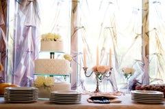 Delicious white birthday cake` Stock Photos