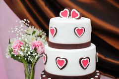 Delicious white and brown wedding cake Royalty Free Stock Photo