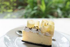 delicious white chocolate cake. tasty dessert on white plate. ho Royalty Free Stock Images