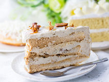 Delicious white chocolate cakes and a piece of coffee cake with almond and raisin on top.  selective focus shallowed DOF Royalty Free Stock Images