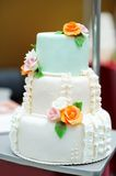 Delicious white and green wedding cake Stock Photo