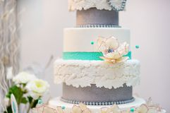 Delicious white and grey wedding or birthday cake Stock Photo