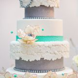 Delicious white and grey wedding cake Stock Photos