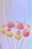 Delicious white and pink cake pops Royalty Free Stock Photography