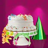 Delicious White Vanilla Birthday Cake ~ Confetti. Delicious White Vanilla Birthday Cake With Red, Blue, Green, Yellow and Orange Confetti Decorations On Cake Stock Images