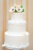 Delicious white wedding or birthday cake Stock Images