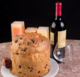 Delicious whole panettone. Royalty Free Stock Images
