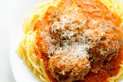 Delicious whole wheat spaghetti with meatballs in tomato sauce Stock Image