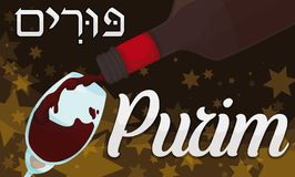 Delicious Wine Served in a Jewish Night of Purim Celebration, Vector Illustration. Banner with delicious wine served in a glass during feast on the Jewish Stock Photo