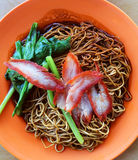 Delicious wonton noodle. Wonton noodles is a Cantonese noodle dish which is popular in asia. The dish is usually served in a hot broth, garnished with leafy royalty free stock photo