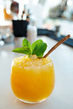 Delicious yellow cocktail on the rocks Royalty Free Stock Photos
