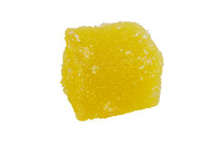 Delicious yellow jelly cube Royalty Free Stock Photo