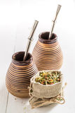 Delicious yerba mate with calabash and bombilla Royalty Free Stock Photography