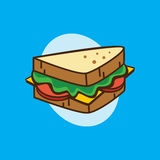 Delicious yummy sandwich for breakfast cartoon theme  Royalty Free Stock Photos