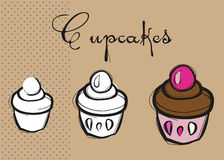 Delicious yummy Three Cupcakes Royalty Free Stock Photography