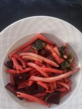 Delicious Ziti Spaghetti with Beetroot and Spinach Stock Image