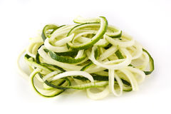 Delicious zucchini noodles isolated on white background Stock Photo