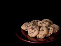 Deliciously crumbly chocolate chip cookies, biscuits. Royalty Free Stock Image