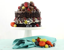 Deliciously divine chocolate cake with berries and cream. Royalty Free Stock Photos