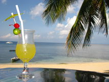 Deliciously Fresh Fruit Juice on the Beach Royalty Free Stock Photos