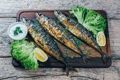 A deliciously roasted mackerel on a grill, presented on a wooden board, and along the leaves of green salad and pieces of lemon.  stock images