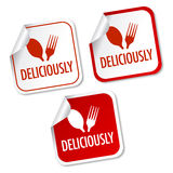 Deliciously stickers. With soft shadow Royalty Free Stock Photography