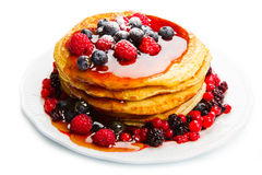 Deliciuos pancake with fresh fruit on white Royalty Free Stock Images