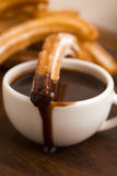 Deliciuos spanish Churros with chocolate Stock Photography